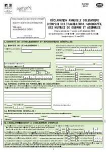 Déclaration 2013 obligatoire d'emploi des personnes handicapées et assimilées