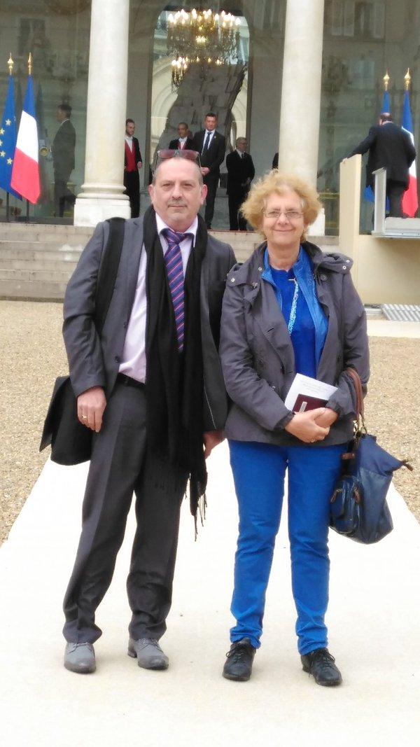 Luc Brisset et Martine Keyer à l'Elysée pour la CNH 2016