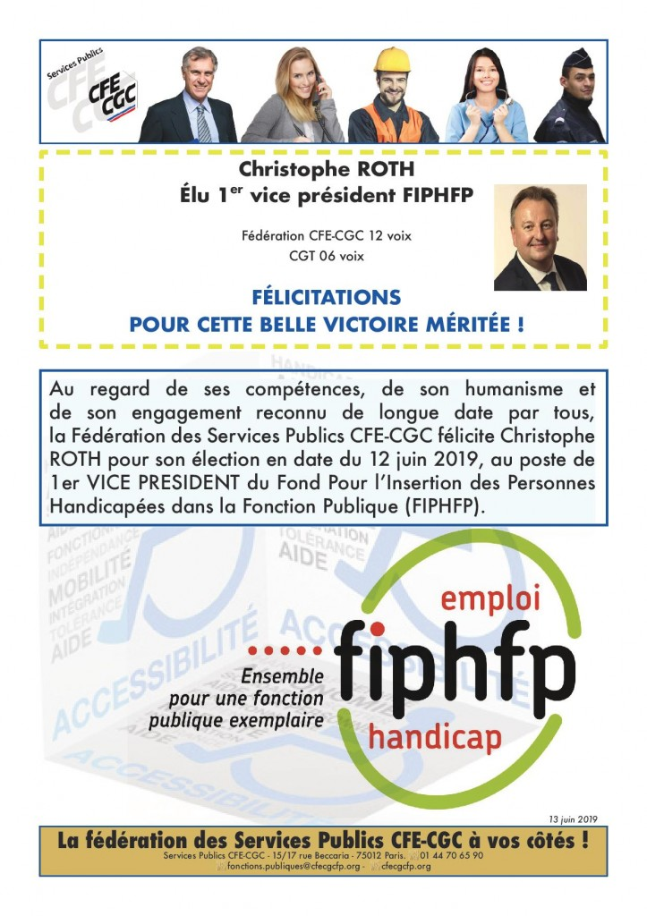 élection christophe Roth 1er Vice Président FIPHFP - 12 juin 2019